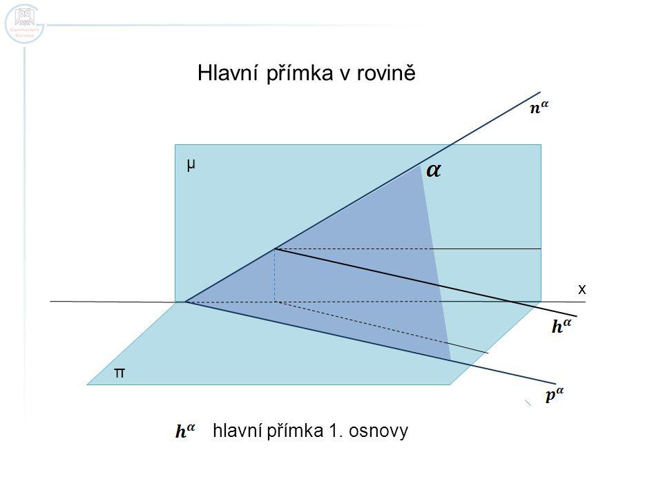 Hlavní přímka v rovině μ x π hlavní přímka 1. osnovy