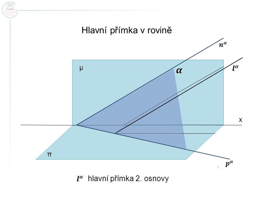 Hlavní přímka v rovině μ x π hlavní přímka 2. osnovy