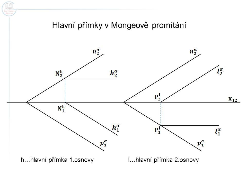Hlavní přímky v Mongeově promítání