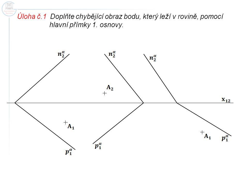 Úloha č.1 Doplňte chybějící obraz bodu, který leží v rovině, pomocí