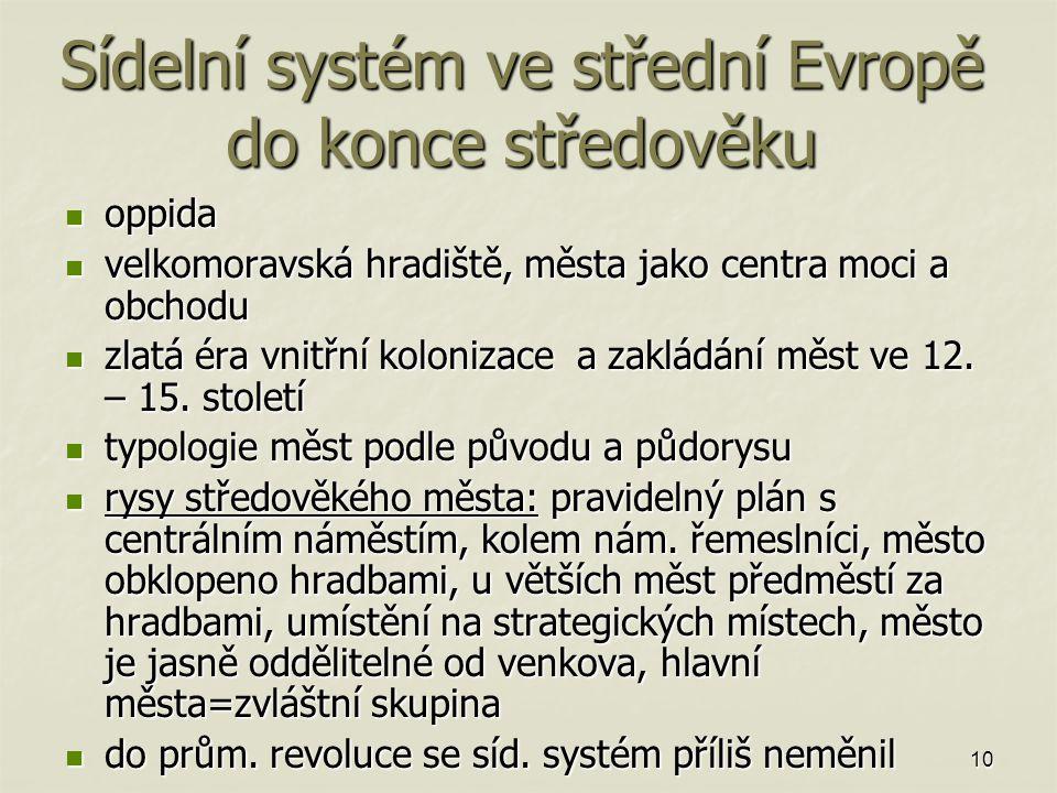 Sídelní systém ve střední Evropě do konce středověku