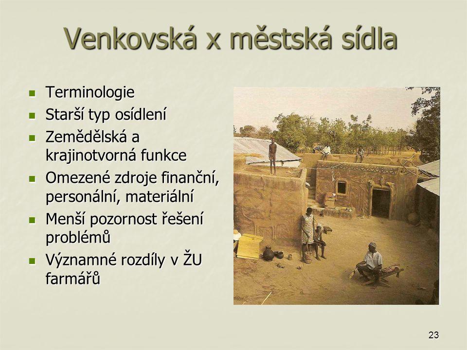 Venkovská x městská sídla