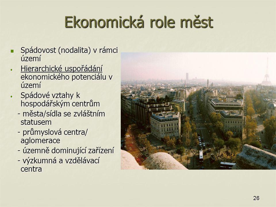 Ekonomická role měst Spádovost (nodalita) v rámci území