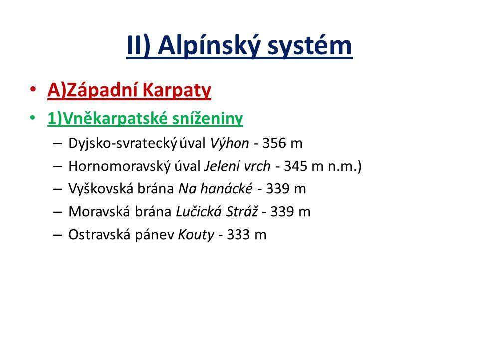 II) Alpínský systém A)Západní Karpaty 1)Vněkarpatské sníženiny