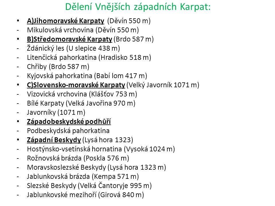 Dělení Vnějších západních Karpat: