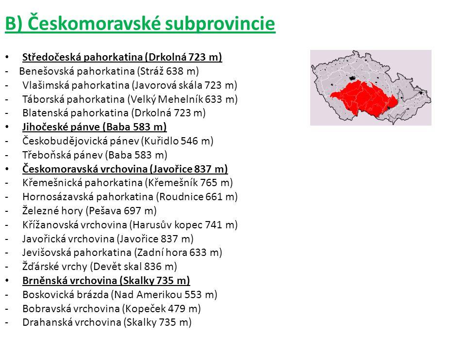 B) Českomoravské subprovincie
