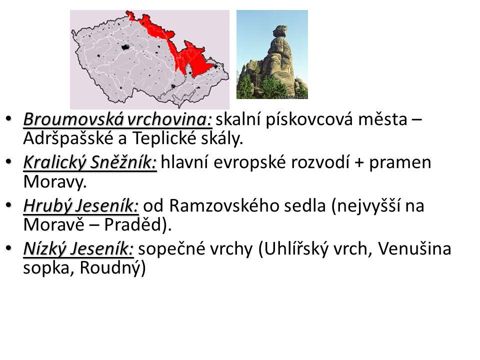 Broumovská vrchovina: skalní pískovcová města – Adršpašské a Teplické skály.