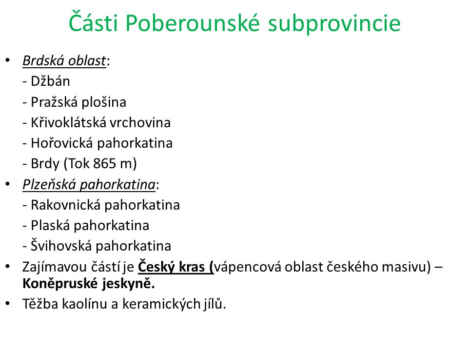 Části Poberounské subprovincie