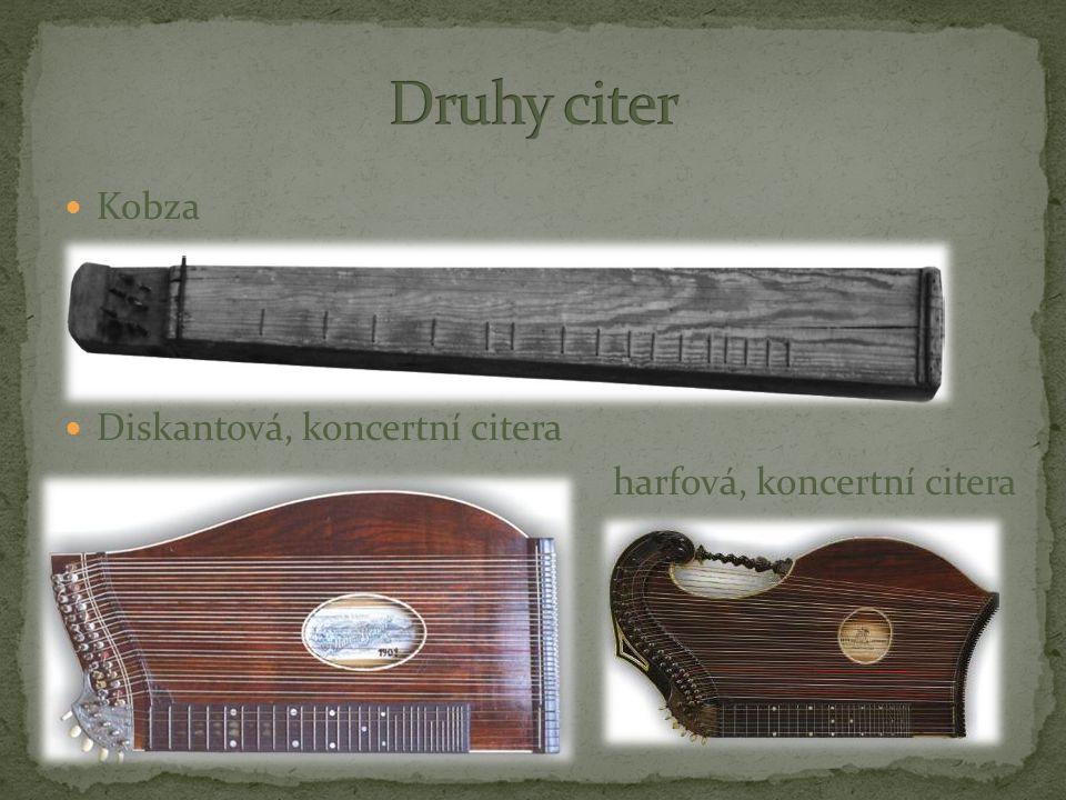 Druhy citer Kobza Diskantová, koncertní citera