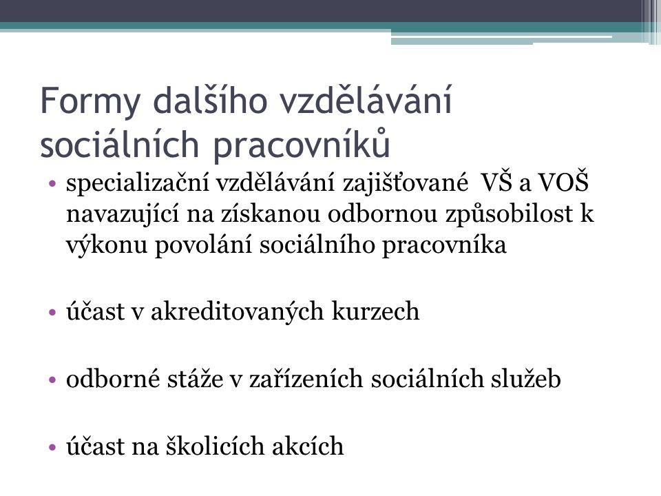 Formy dalšího vzdělávání sociálních pracovníků