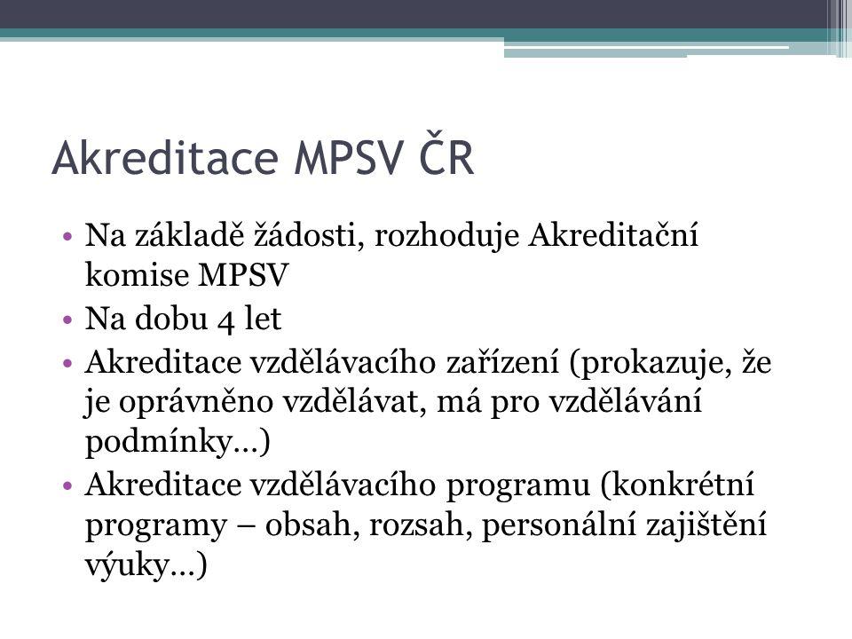 Akreditace MPSV ČR Na základě žádosti, rozhoduje Akreditační komise MPSV. Na dobu 4 let.