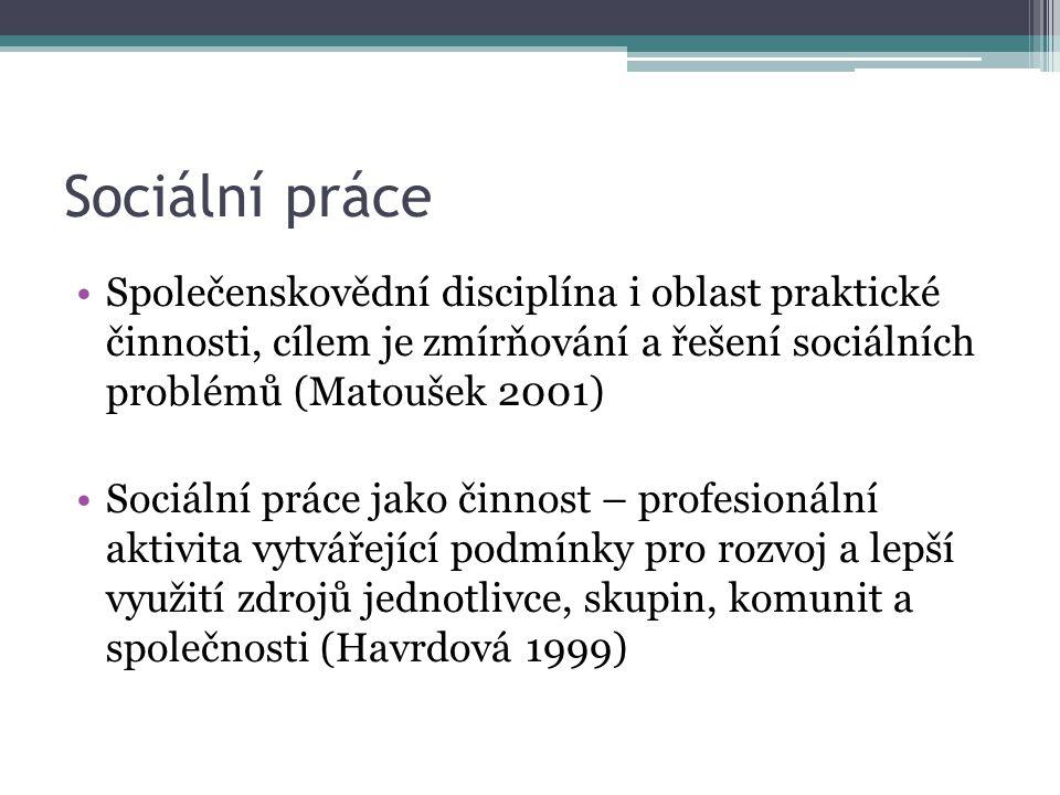 Sociální práce Společenskovědní disciplína i oblast praktické činnosti, cílem je zmírňování a řešení sociálních problémů (Matoušek 2001)