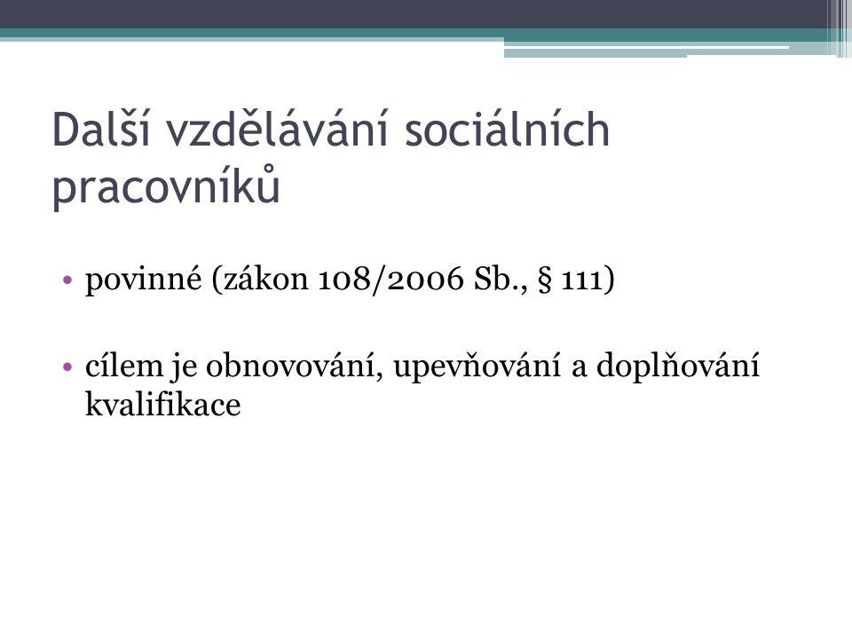 Další vzdělávání sociálních pracovníků