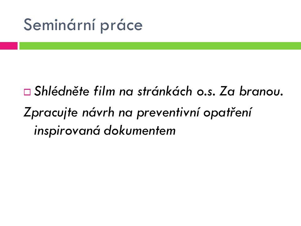 Seminární práce Shlédněte film na stránkách o.s. Za branou.