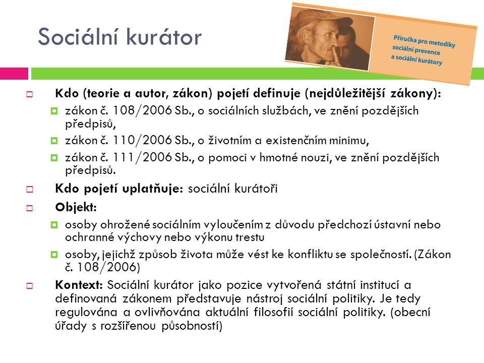 Sociální kurátor Kdo pojetí uplatňuje: sociální kurátoři