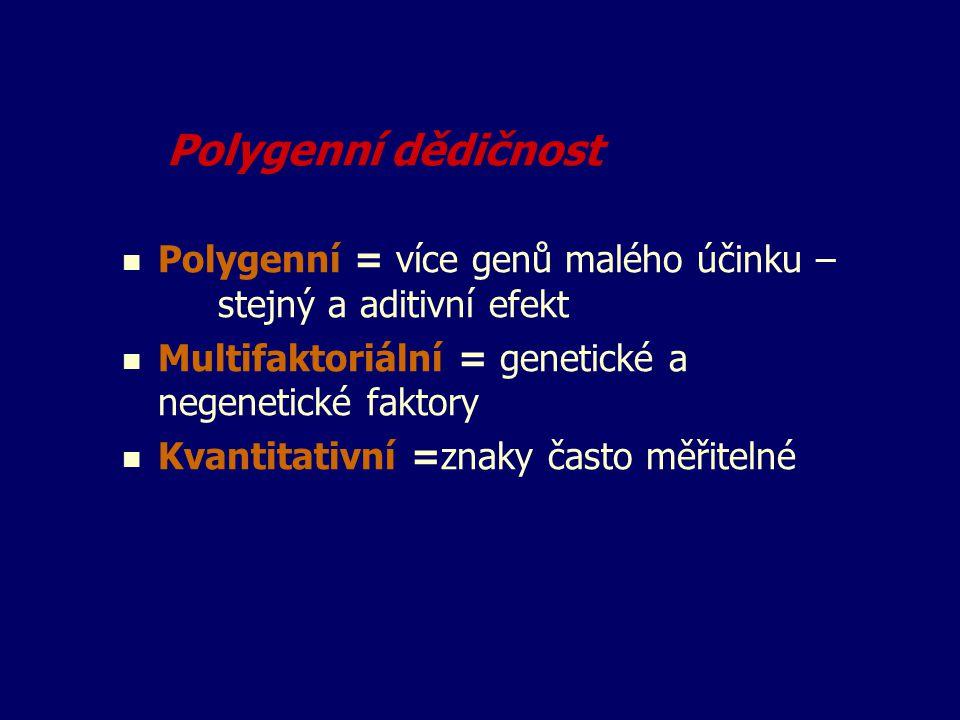 Polygenní dědičnost Polygenní = více genů malého účinku – stejný a aditivní efekt. Multifaktoriální = genetické a negenetické faktory.