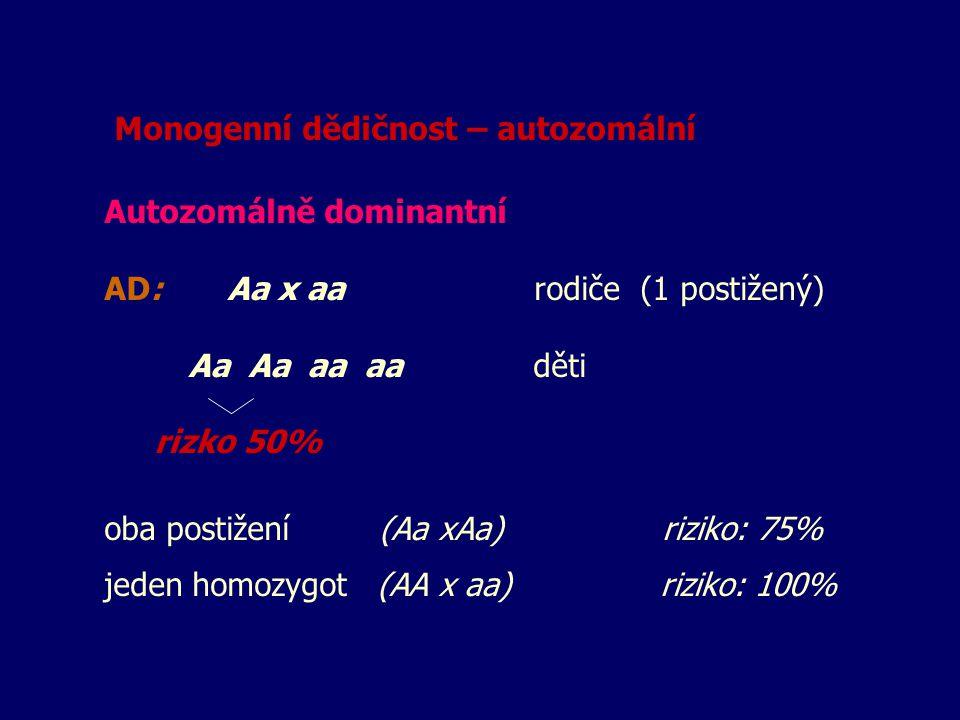 Monogenní dědičnost – autozomální
