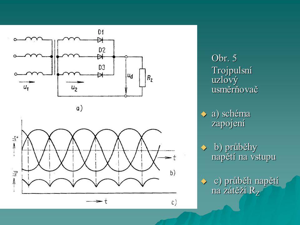 Obr. 5 Trojpulsní uzlový usměrňovač. a) schéma zapojení.