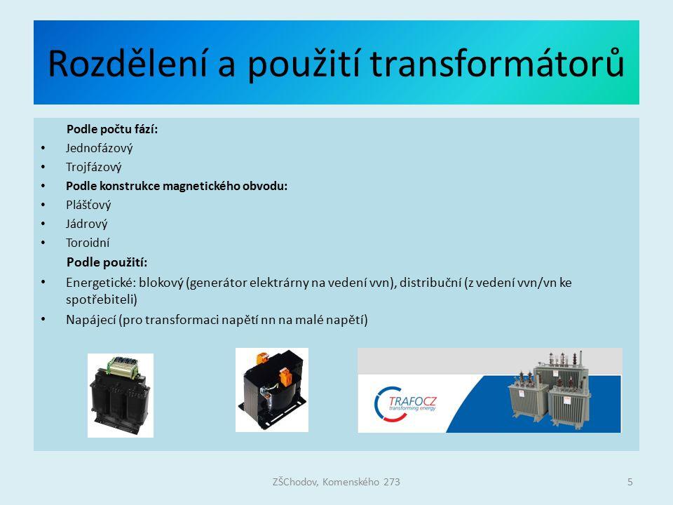 Rozdělení a použití transformátorů