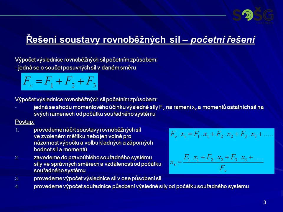Řešení soustavy rovnoběžných sil – početní řešení