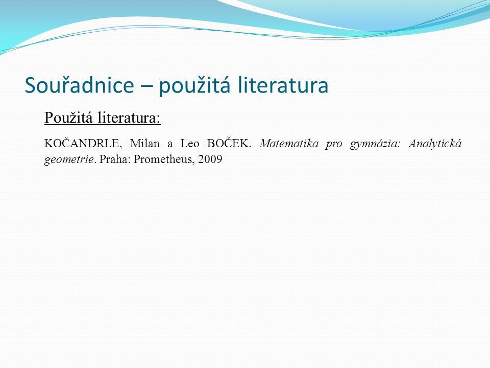 Souřadnice – použitá literatura