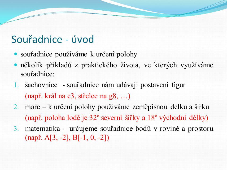 Souřadnice - úvod souřadnice používáme k určení polohy