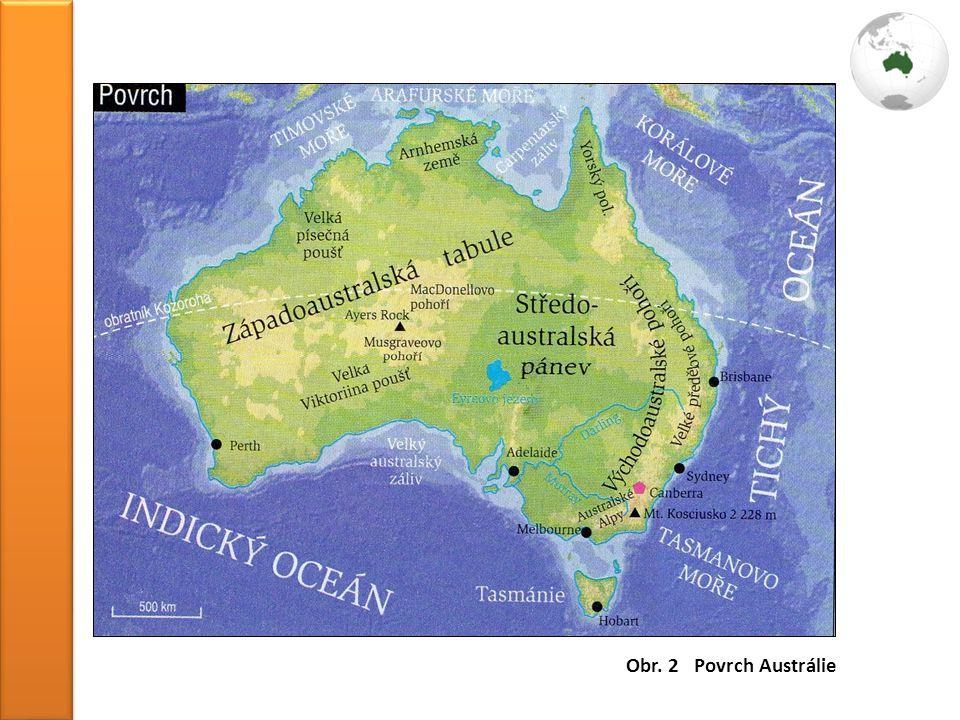 Obr. 2 Povrch Austrálie
