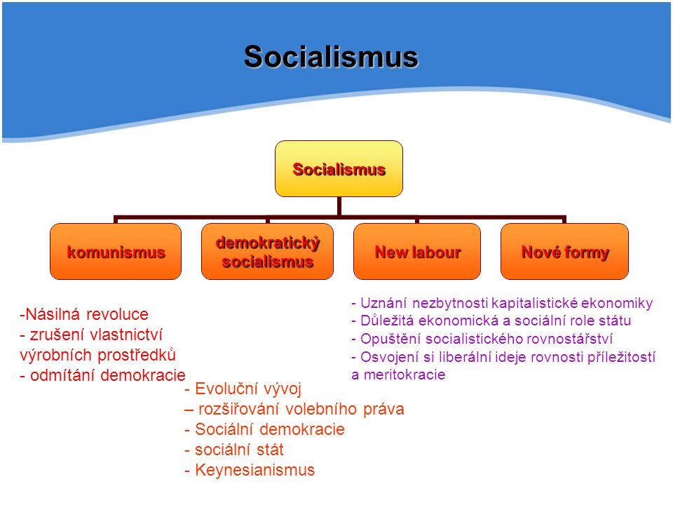 Socialismus Násilná revoluce zrušení vlastnictví výrobních prostředků