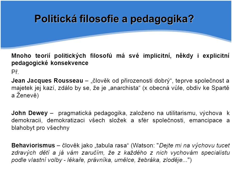 Politická filosofie a pedagogika
