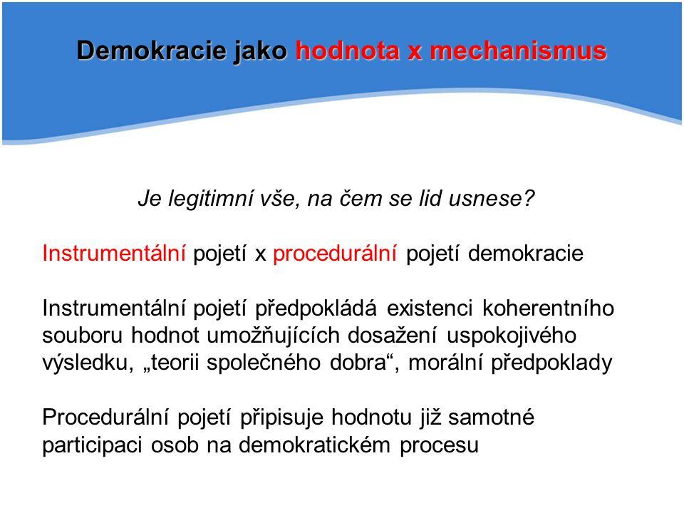 Demokracie jako hodnota x mechanismus