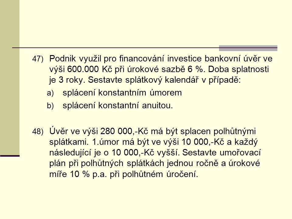 Podnik využil pro financování investice bankovní úvěr ve výši 600