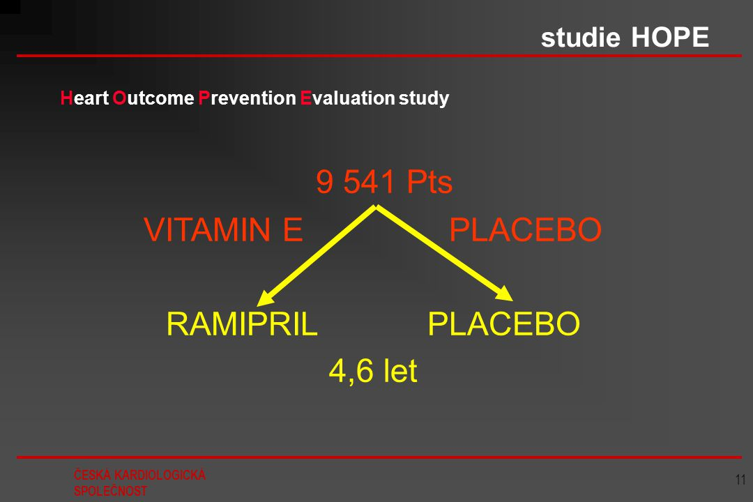 9 541 Pts VITAMIN E PLACEBO RAMIPRIL PLACEBO 4,6 let studie HOPE