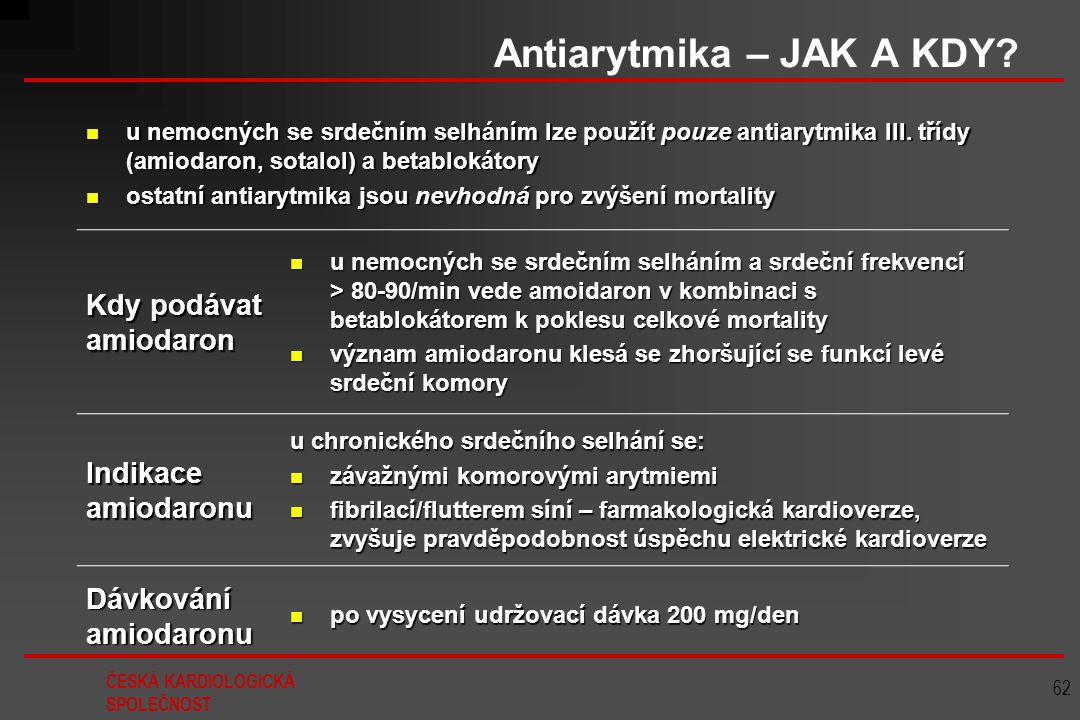 Antiarytmika – JAK A KDY