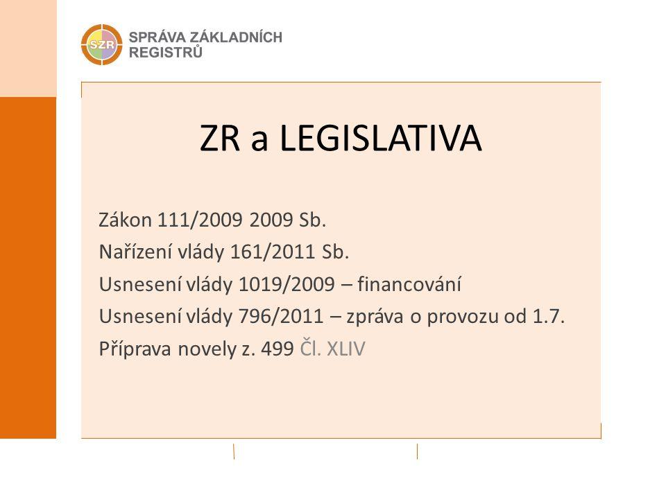 ZR a LEGISLATIVA Zákon 111/2009 2009 Sb. Nařízení vlády 161/2011 Sb.