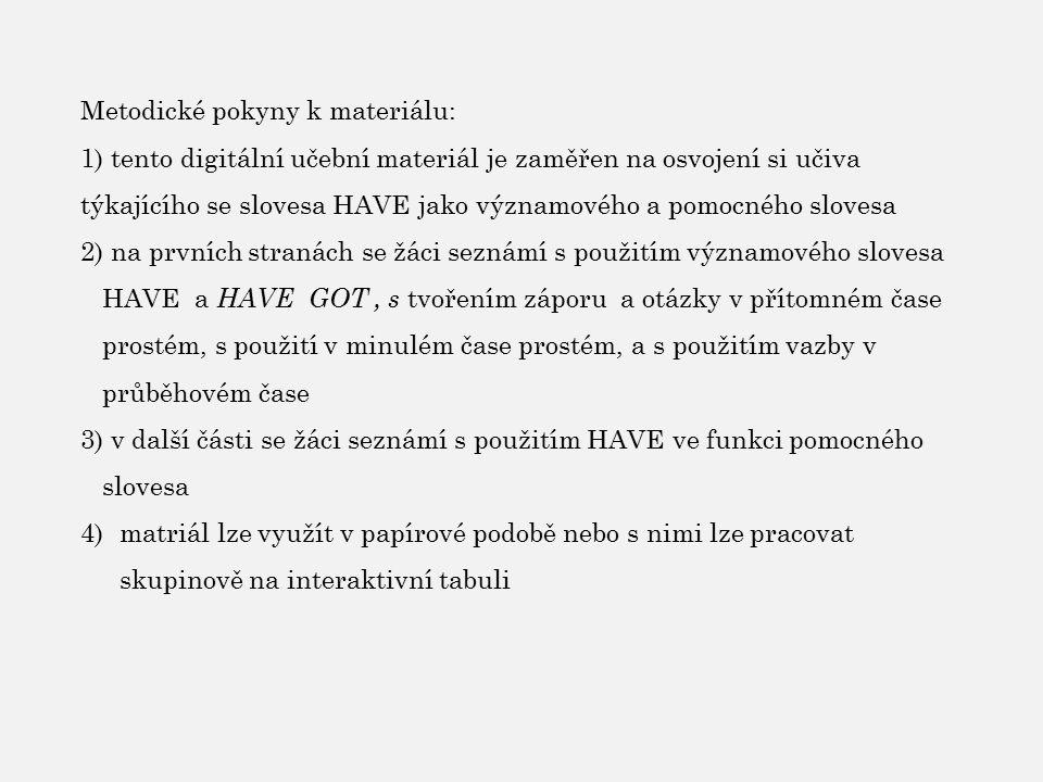 Metodické pokyny k materiálu: