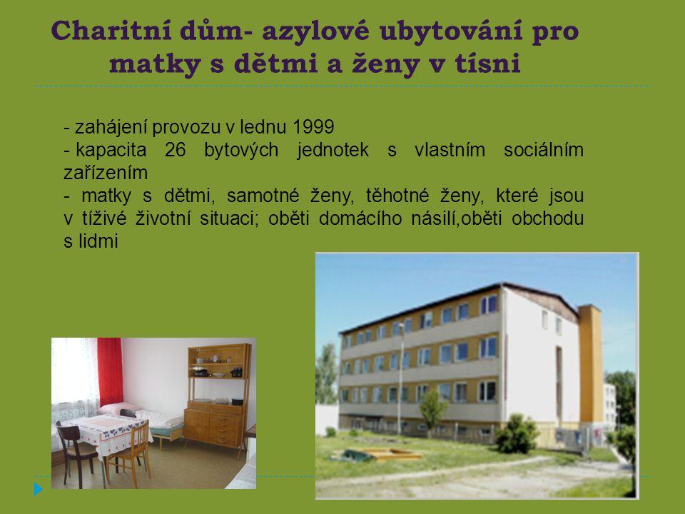 Charitní dům- azylové ubytování pro matky s dětmi a ženy v tísni