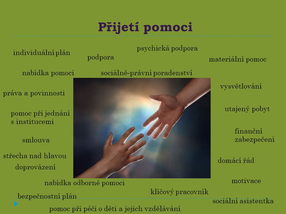 Přijetí pomoci psychická podpora individuální plán podpora