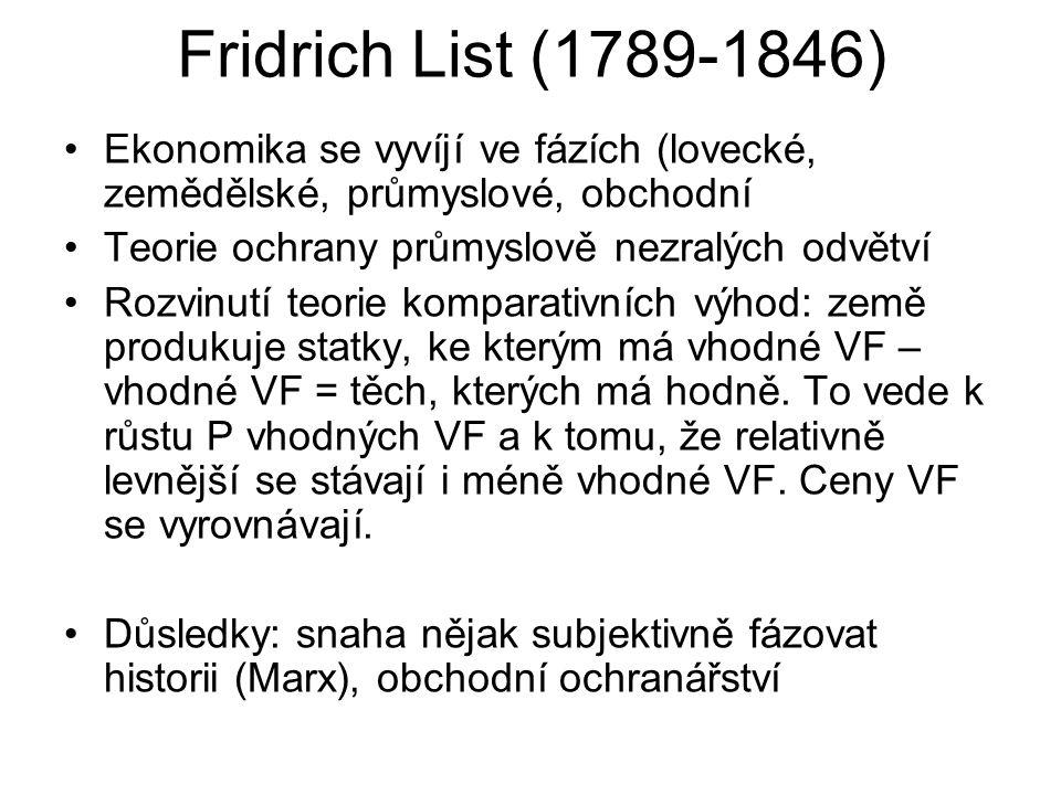 Fridrich List (1789-1846) Ekonomika se vyvíjí ve fázích (lovecké, zemědělské, průmyslové, obchodní.