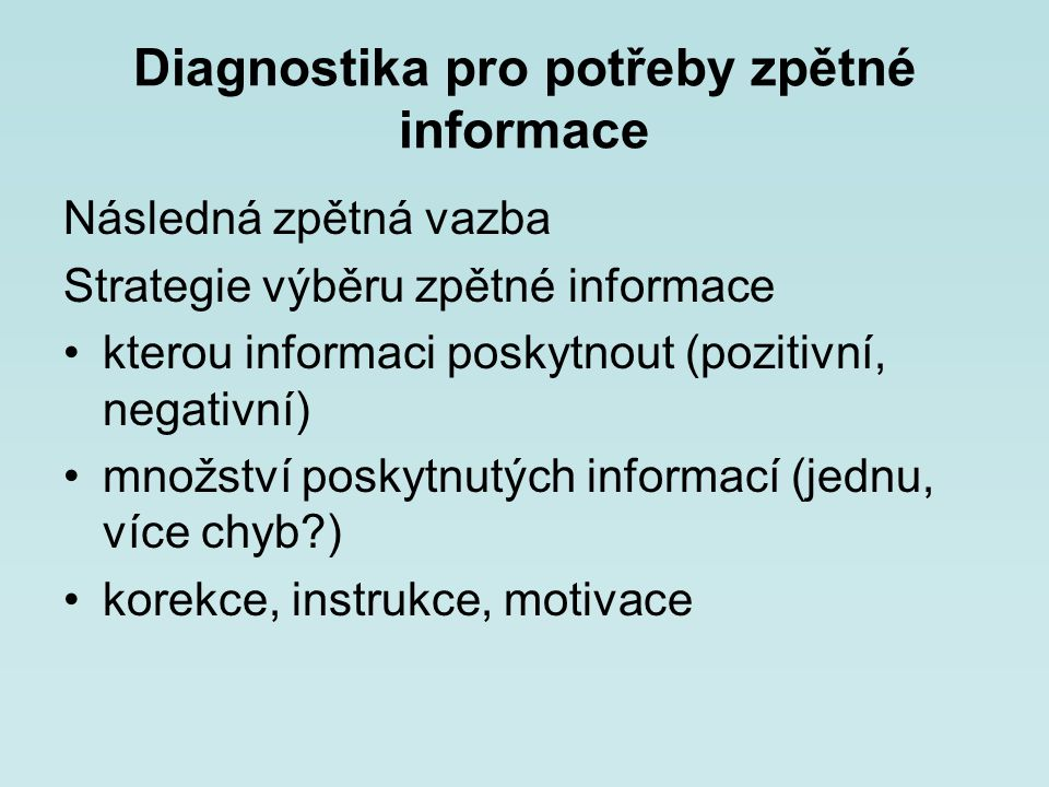 Diagnostika pro potřeby zpětné informace
