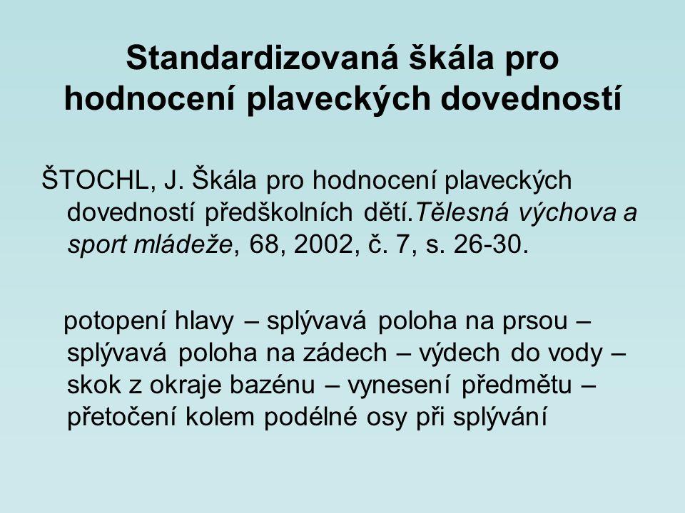 Standardizovaná škála pro hodnocení plaveckých dovedností