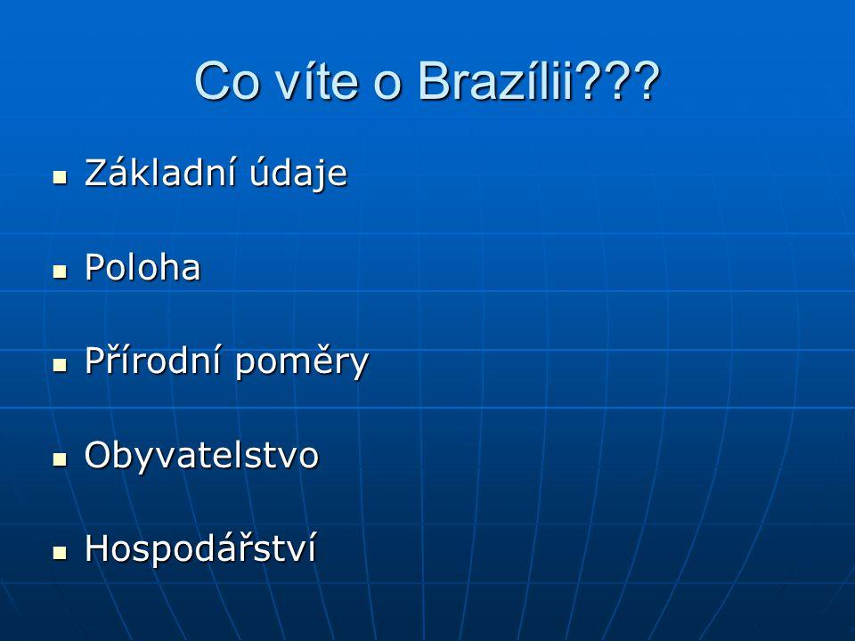Co víte o Brazílii Základní údaje Poloha Přírodní poměry