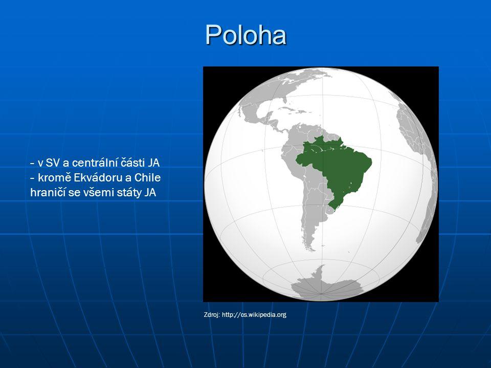 Poloha v SV a centrální části JA kromě Ekvádoru a Chile