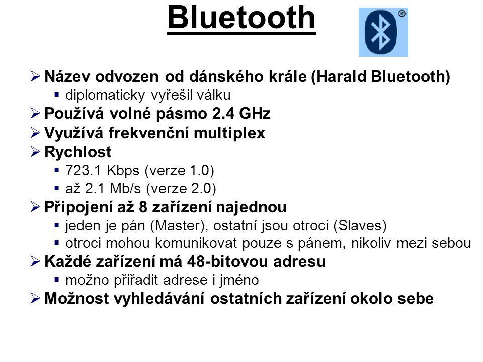 Bluetooth Název odvozen od dánského krále (Harald Bluetooth)