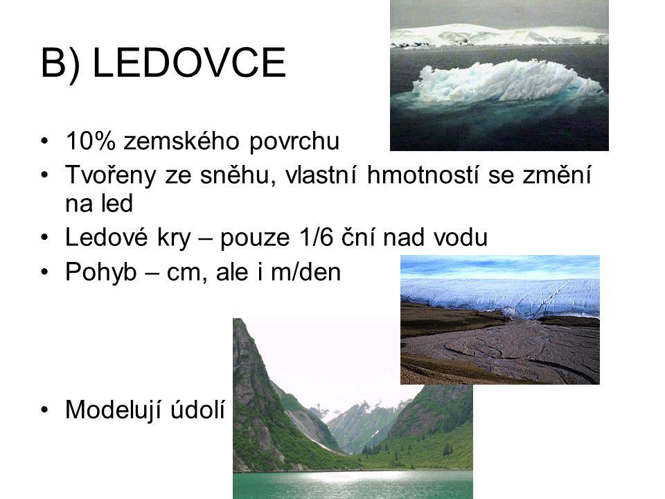 B) LEDOVCE 10% zemského povrchu