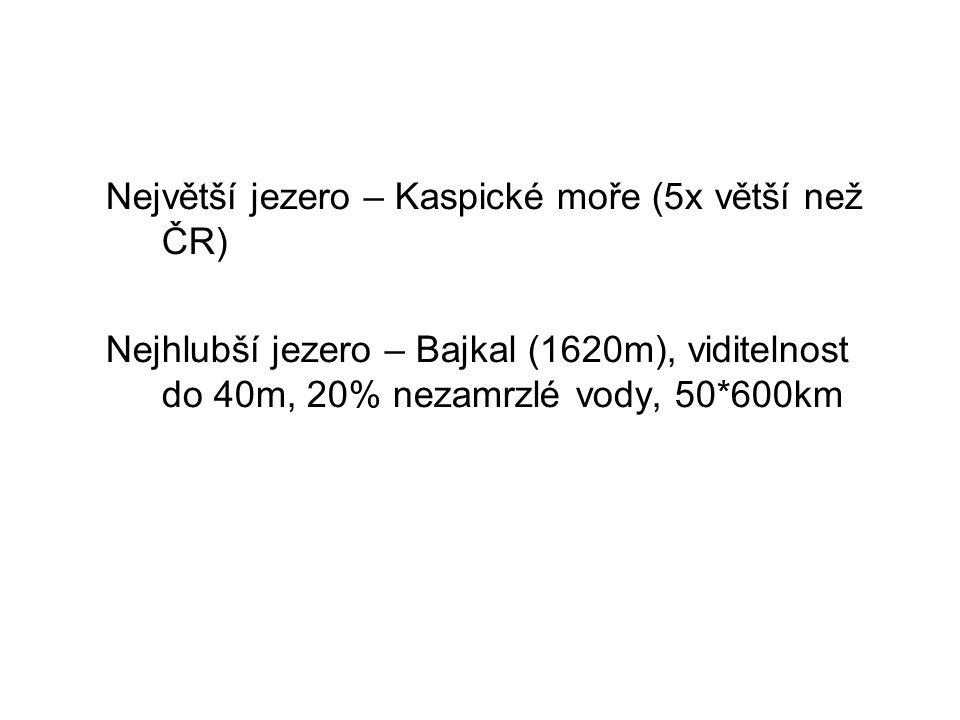 Největší jezero – Kaspické moře (5x větší než ČR) Nejhlubší jezero – Bajkal (1620m), viditelnost do 40m, 20% nezamrzlé vody, 50*600km