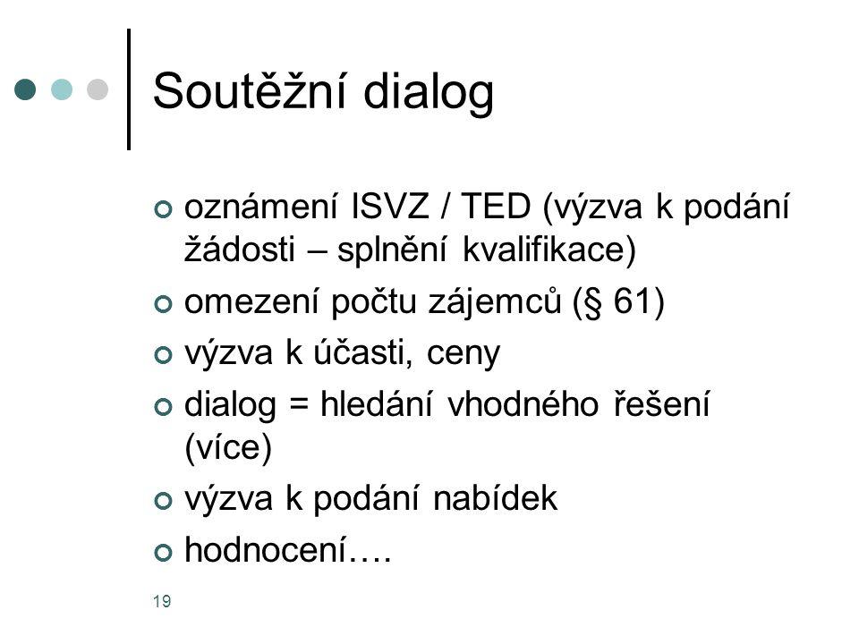 Soutěžní dialog oznámení ISVZ / TED (výzva k podání žádosti – splnění kvalifikace) omezení počtu zájemců (§ 61)