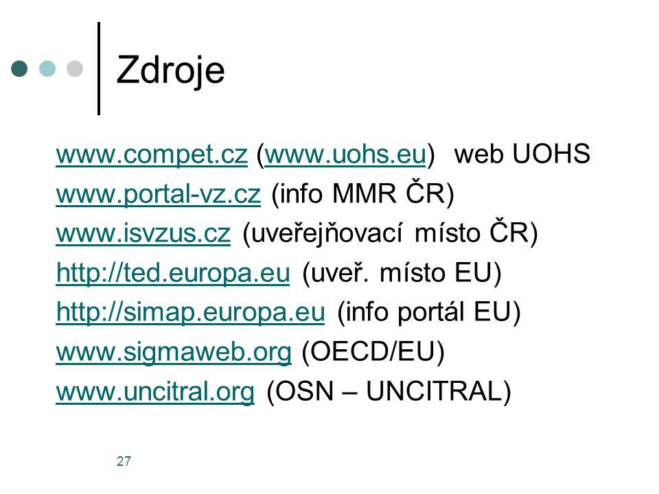 Zdroje www.compet.cz (www.uohs.eu) web UOHS