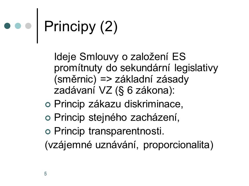 Principy (2) Ideje Smlouvy o založení ES promítnuty do sekundární legislativy (směrnic) => základní zásady zadávaní VZ (§ 6 zákona):