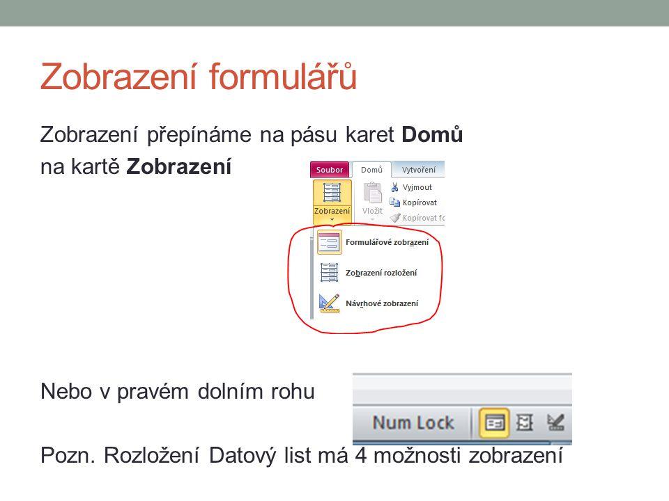 Zobrazení formulářů