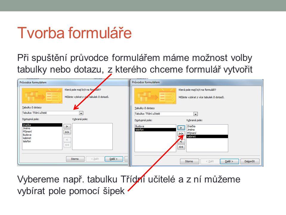 Tvorba formuláře